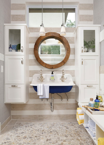 Vintage Beach Style Bathroom by Cindy Aplanalp Yates u Chairma Design Group