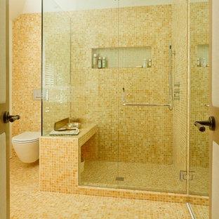 Foto di una grande stanza da bagno padronale minimalista con WC sospeso e pavimento con piastrelle a mosaico