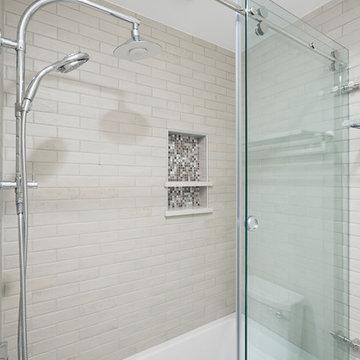 Bright White Design-Build Bathroom Remodels, 3 Spaces 1 Client Columbus OH