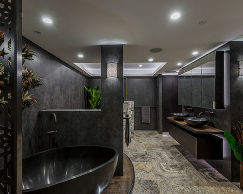 Large Trendy Master Bathroom Photo In Brisbane With Furniture Like  Cabinets, Dark Wood Cabinets