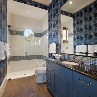 Mid-sized island style 3/4 blue tile, white tile and mosaic tile dark wood floor alcove shower photo in Miami with beaded inset cabinets, blue cabinets, a two-piece toilet, blue walls, an undermount sink and granite countertops