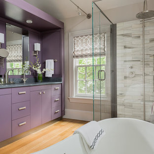 Example Of A Large Trendy Master Gray Tile Light Wood Floor Bathroom Design In Boston With