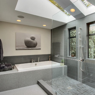 Contemporary bathroom in Seattle with a built-in bath, a walk-in shower and an open shower.