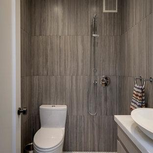 Foto di una stanza da bagno minimal con ante lisce, ante grigie, zona vasca/doccia separata, WC monopezzo, piastrelle grigie, pavimento con piastrelle a mosaico, lavabo a bacinella, pavimento bianco e doccia aperta