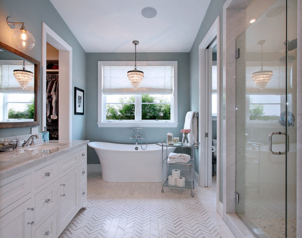 Transitional Bathroom by Brandon Architects, Inc.