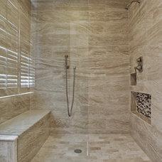 Transitional Bathroom by New Leaf Construction