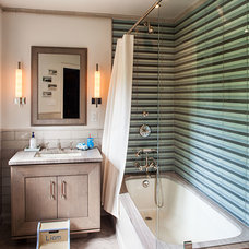 Transitional Bathroom by Anjali Pollack Design