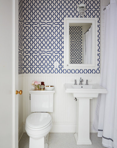 Transitional Bathroom by Nicole Gibbons Studio LLC