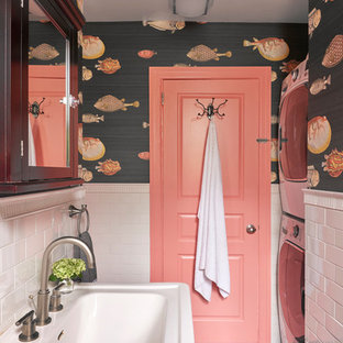 Inspiration for a transitional bathroom/laundry room remodel in New York