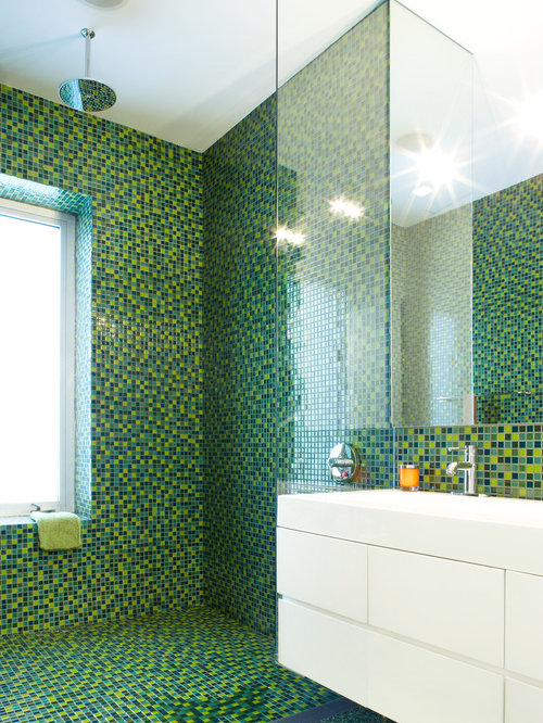 Example Of A Mid Sized Trendy Kidsu0027 Green Tile And Mosaic Tile Mosaic Tile