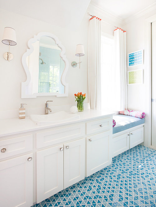 Example Of A Mid Sized Transitional 3/4 Blue Tile And Ceramic Tile Mosaic Part 49