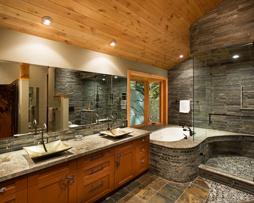 Stacked stone shower houzz for Rock bathroom designs