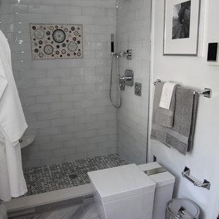 gray tile shower | houzz