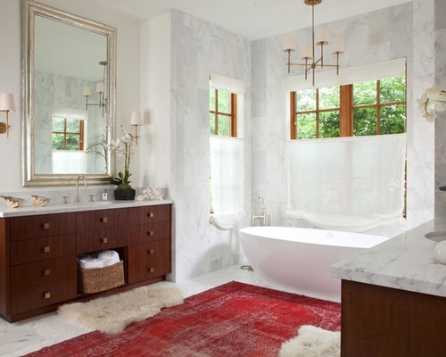 Transitional master freestanding bathtub photo in Denver with dark wood  cabinets. Wash Basin With Cabinet   Houzz