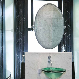 Bathroom - traditional white tile bathroom idea in Other with a vessel sink