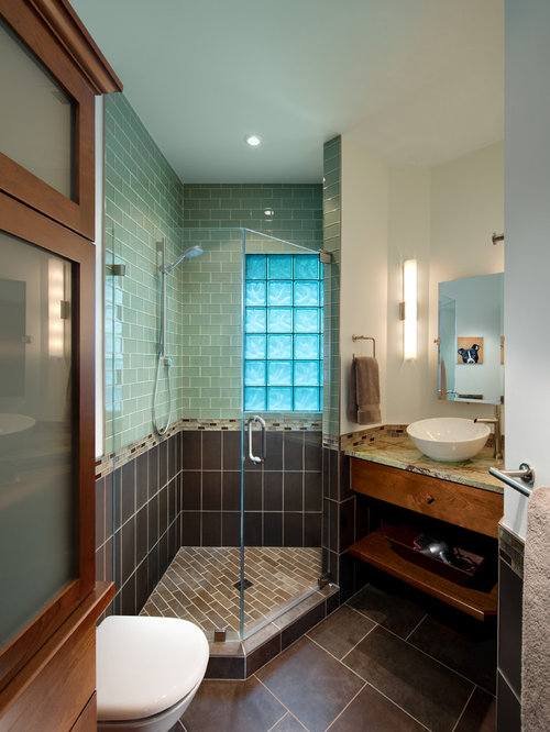 Arts And Crafts Brown Tile And Subway Tile Ceramic Floor And Brown Floor  Corner Shower Photo Part 9