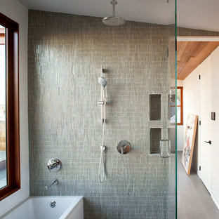 Tub/shower combo - mid-sized modern master green tile and mosaic tile mosaic tile floor tub/shower combo idea in San Francisco with an undermount sink and white walls