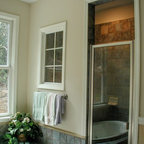 Master Bath With His And Her S Concrete Counters Rustic