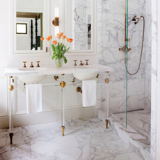 Mid-sized country master white tile, gray tile and marble tile marble floor and white floor bathroom photo in Los Angeles with white walls, white countertops and an undermount sink