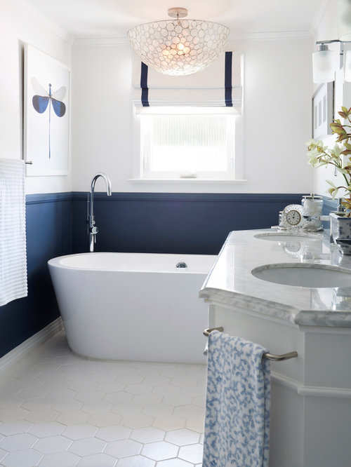 Interior Blue And White Bathroom Ideas navy and white bathroom ideas houzz mid sized transitional master blue tile glass ceramic floor freestanding