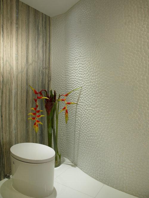 Salle d\'eau de luxe avec une plaque de galets : Photos et idées ...
