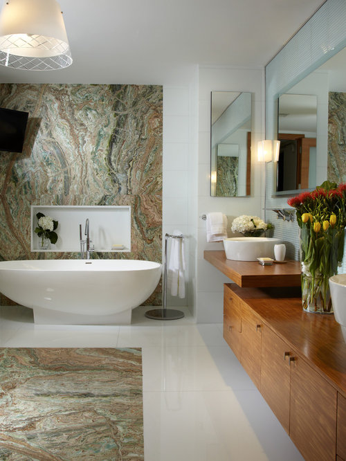 Inspiration For A Large Contemporary Master Blue Tile And Mosaic Marble Floor Freestanding Bathtub Remodel