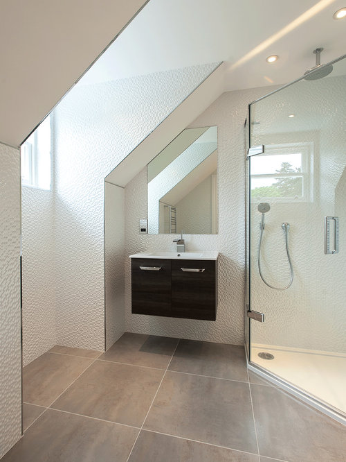 Example Of A Trendy White Tile Corner Shower Design In London With An  Integrated Sink,