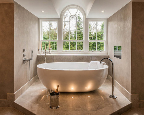 This Is An Example Of A Large Contemporary And Modern Bathroom In Surrey  With A Freestanding
