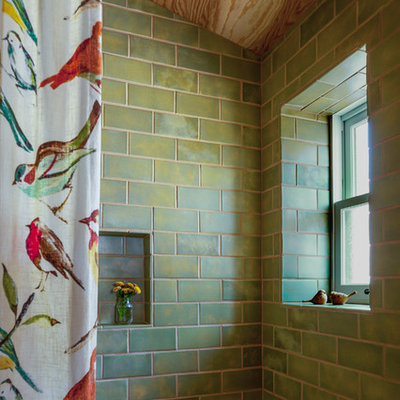Example of a mid-sized mountain style green tile and ceramic tile bathroom design in Other