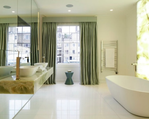Most popular bathroom with mirror tiles remodeling ideas houzz design ideas for a large contemporary bathroom in london with a freestanding bath mirror tiles freerunsca Image collections