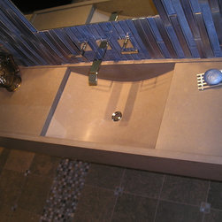 Caeserstone Curved Sink - Caeserstone with fabricated sink. Note the integrated sink has been bent by the fabricator