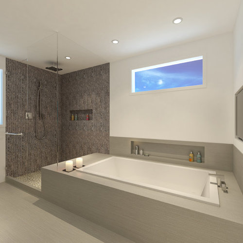 Modern Master Bathroom Idea In Los Angeles With Flat Panel Cabinets, Gray  Cabinets And