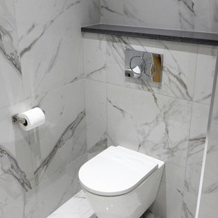 Design ideas for a medium sized contemporary bathroom in Other with a wall mounted toilet, white walls, quartz worktops, an open shower, white tiles, marble tiles, marble flooring, white floors and grey worktops.