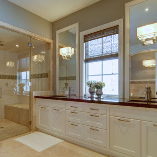 Example of a classic alcove shower design in Calgary with recessed-panel cabinets and white cabinets