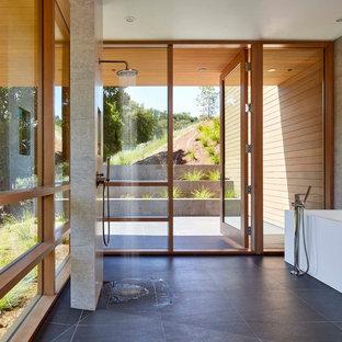 Idéer för 50 tals en-suite badrum, med ett fristående badkar, våtrum, med dusch som är öppen, grå kakel, grå väggar och svart golv