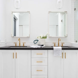 Bathroom - mid-sized transitional master white tile ceramic tile and multicolored floor bathroom idea in Orange County with white walls, shaker cabinets, white cabinets and an undermount sink