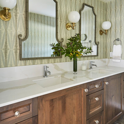 Bathroom - large transitional kids' marble floor and gray floor bathroom idea in San Francisco with dark wood cabinets, green walls, an undermount sink, quartz countertops, white countertops and recessed-panel cabinets