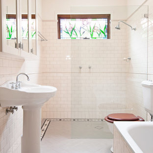 Example Of A Large Classic Master Subway Tile And White Tile Ceramic Floor  Bathroom Design In