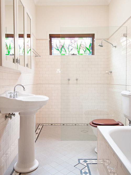 Perfect Example Of A Large Classic Master Subway Tile And White Tile Ceramic Floor  Bathroom Design In