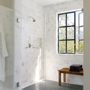 Example of a country alcove shower design in San Francisco
