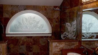 Calla Lily Designs for Bathroom Window - Glass