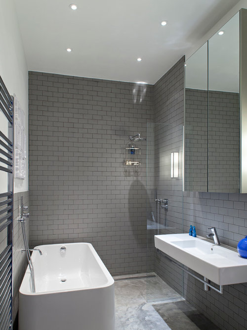 Superior Contemporary Gray Tile And Subway Tile Bathroom Idea In London With A  Wall Mount Sink Awesome Design