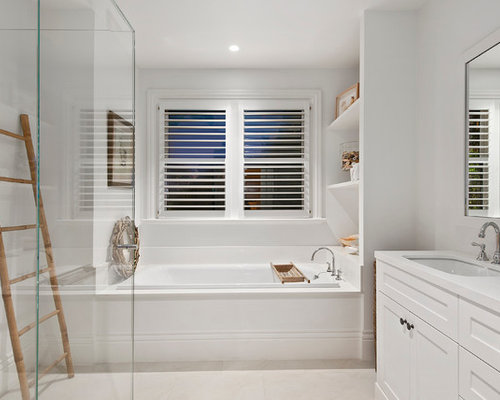 design ideas for a beach style bathroom in melbourne with shaker cabinets white cabinets - Beach Style Bathroom