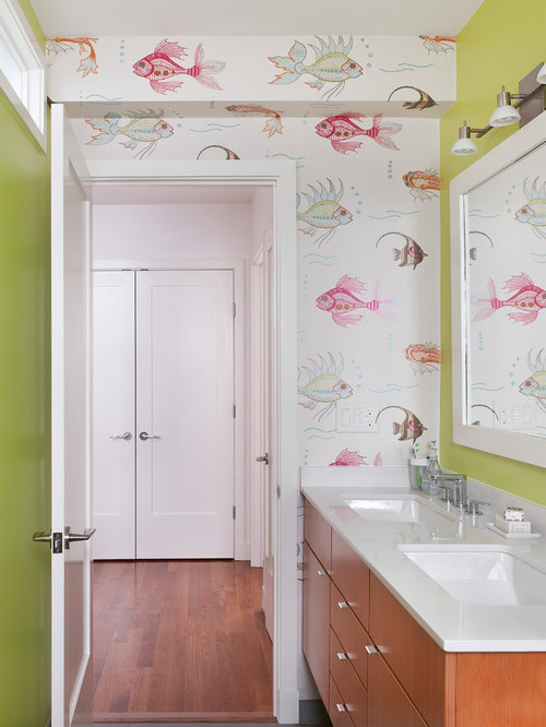 bathroom wallpaper houzz