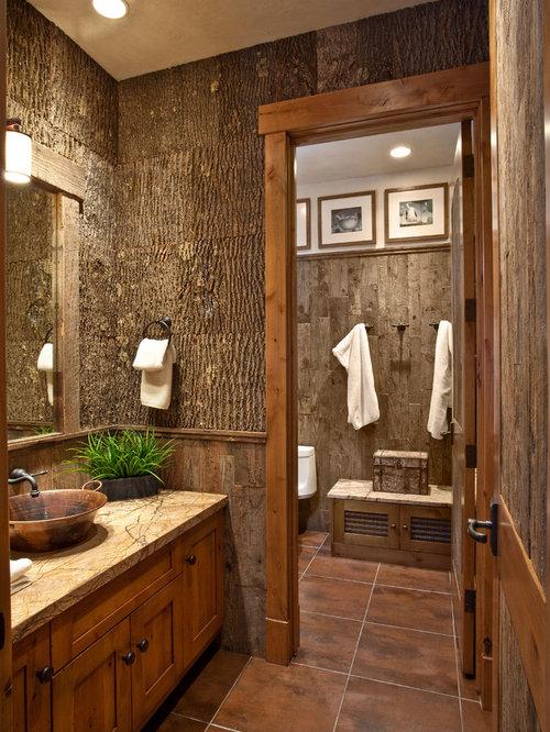 Using Log Cabin Wall As Backdrop Bathroom And Cloakroom Design Ideas Renovat