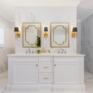 Inspiration for a traditional bathroom in Brisbane with recessed-panel cabinets, white cabinets, white tile, an undermount sink, white floor, white benchtops, a double vanity and a built-in vanity.