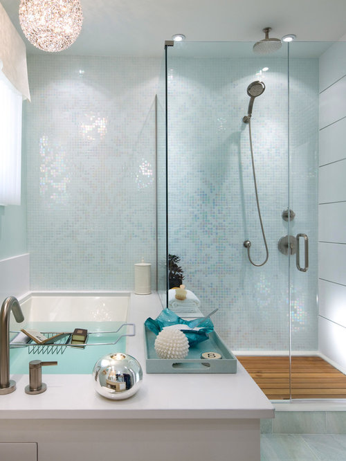 Inspiration For A Contemporary Mosaic Tile Bathroom Remodel In Toronto