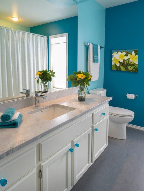 Best Eclectic Bath With Linoleum Floors Design Ideas