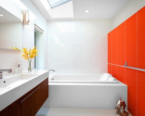 midsized midcentury modern master white tile porcelain floor and gray floor dropin