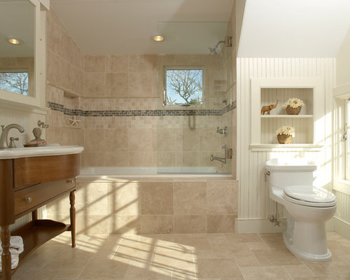 Inspiration for a large timeless master drop-in bathtub remodel in Boston  with a console